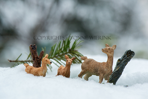 Little Christmas deer in snow