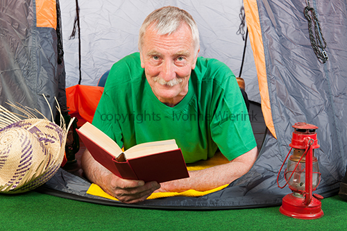 Senior man at the camping