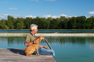 Man with dog on pier