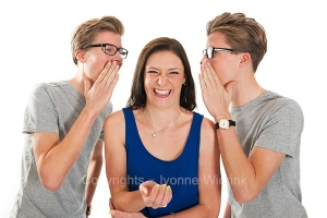 Gossip by twins with a girl