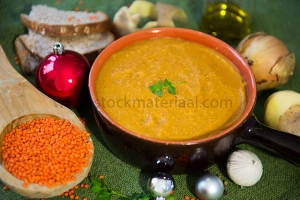 Vegetarian red lentil soup while Christmas