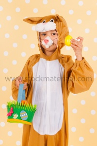 Child as easter hare with eggs