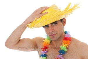 Beach boy with straw hat