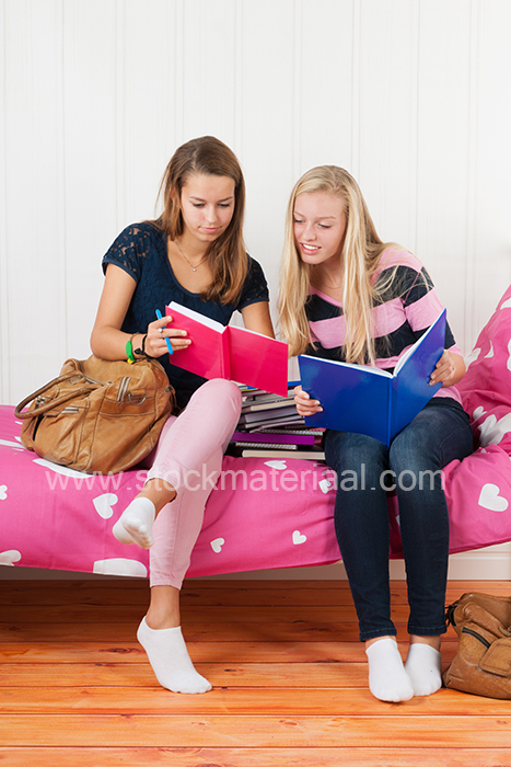 Two teen girls making homework together
