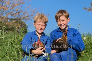 Farm Boys with chickens