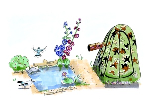 Hand drawn illustration of bird watching with a shelter