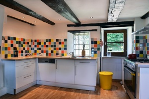 Kitchen interior with colorful tiles